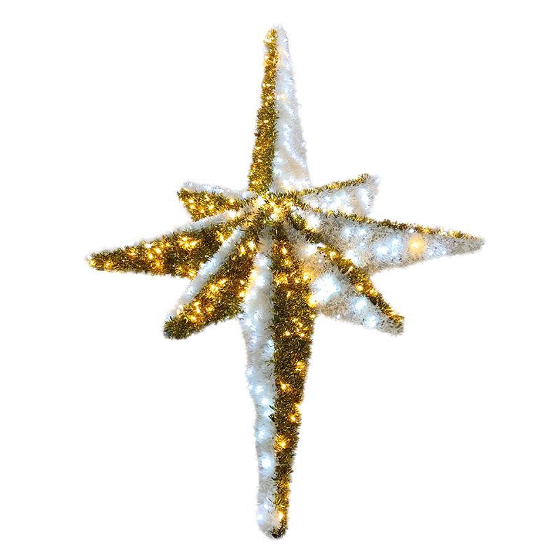 """Фигура """"Звезда 8-ми конечная"""",  LED подсветка  высота 180см, бело-золотая  NEON-NIGHT"""