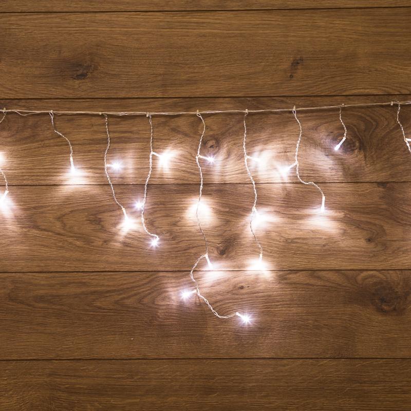 Гирлянда Айсикл (бахрома) светодиодный, 1,8 х 0,5 м, прозрачный провод, 230 В, диоды белые