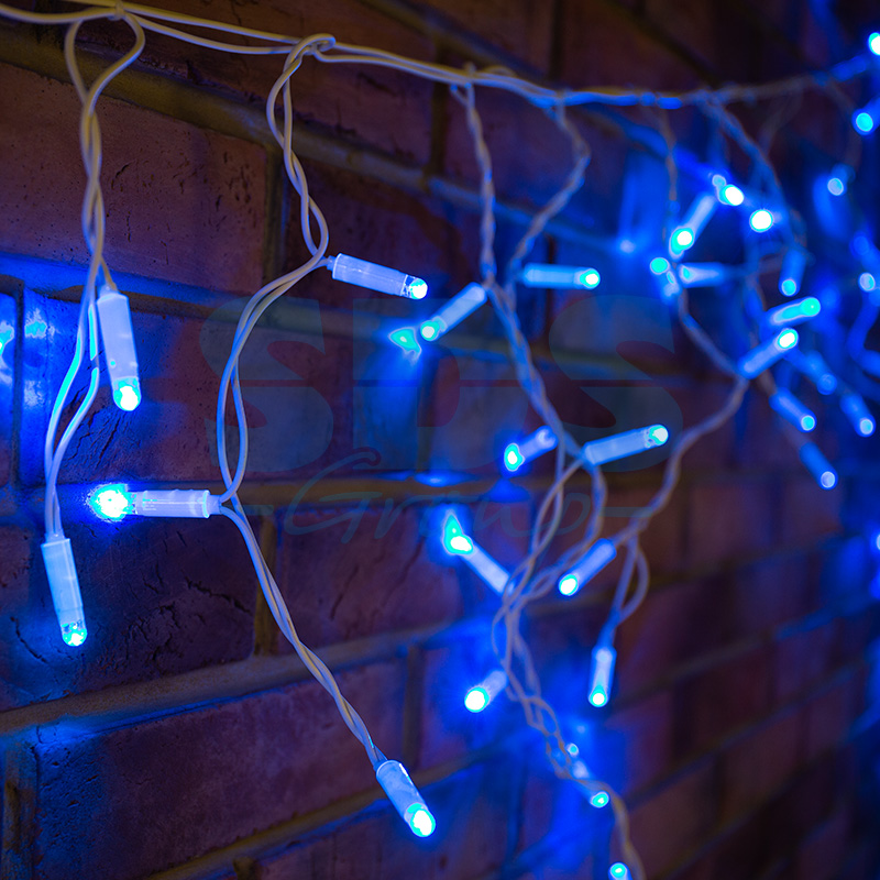 Гирлянда Айсикл (бахрома) светодиодный, 2,4 х 0,6 м, белый провод, 230 В, диоды синие, 76 LED