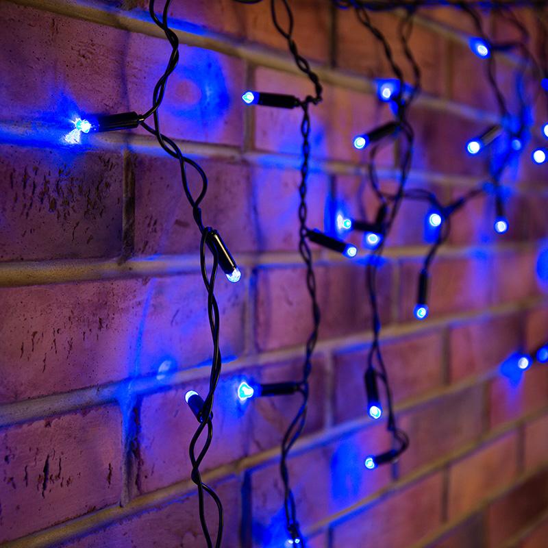 Гирлянда Айсикл (бахрома) светодиодный, 2,4 х 0,6 м, черный провод, 230 В, диоды синие, 88 LED  NEON-NIGHT