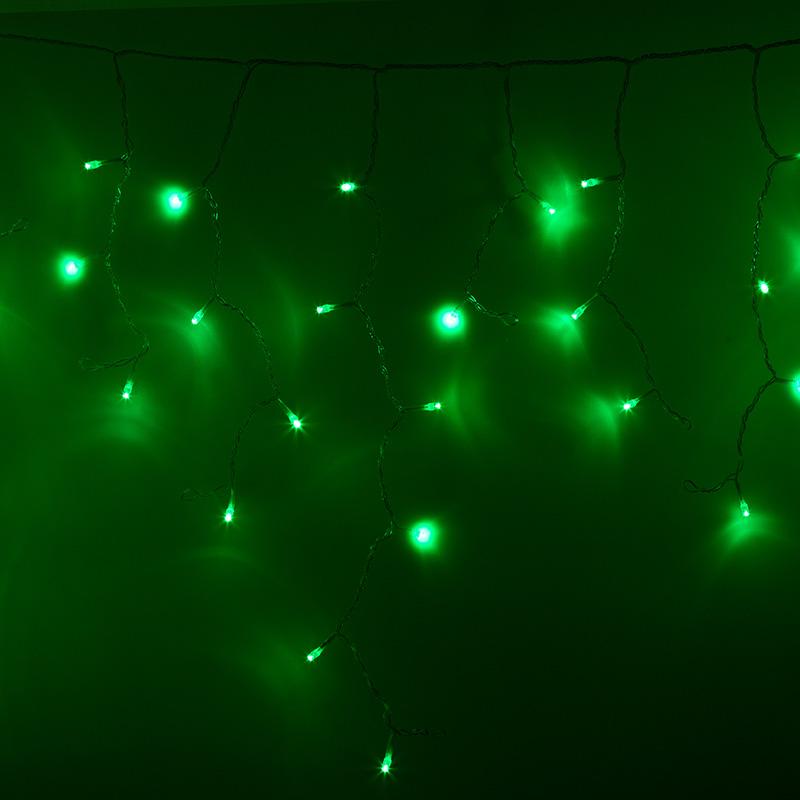 Гирлянда Айсикл (бахрома) светодиодный, 2,4 х 0,6 м, прозрачный провод, 230 В, диоды зелёные,  88 LED NEON-NIGHT