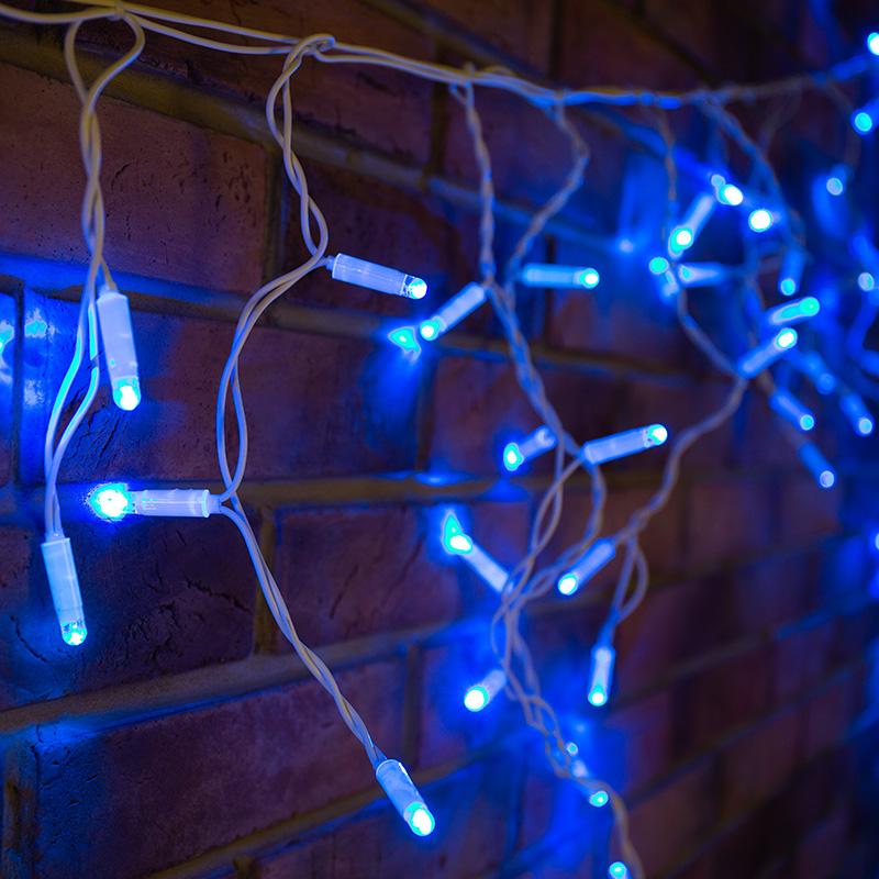 Гирлянда Айсикл (бахрома) светодиодный, 4,8 х 0,6 м, белый провод, 230 В, диоды синие,  152 LED