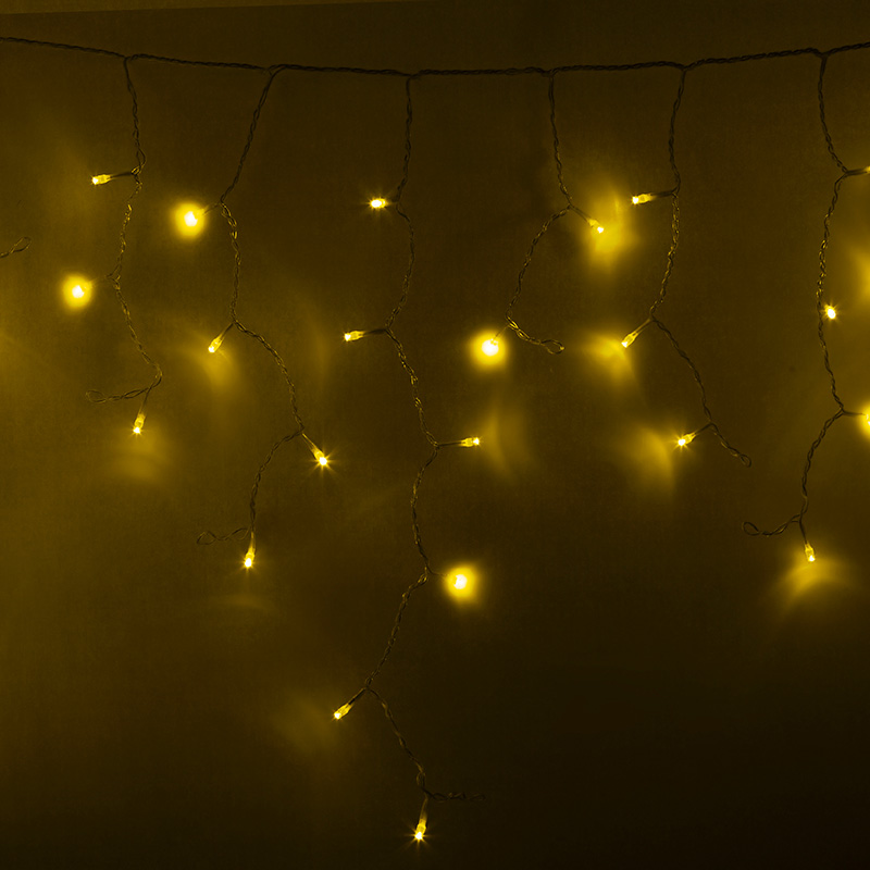 Гирлянда Айсикл (бахрома) светодиодный, 4,8 х 0,6 м, прозрачный провод, 230 В, диоды желтые,  176 LED NEON-NIGHT