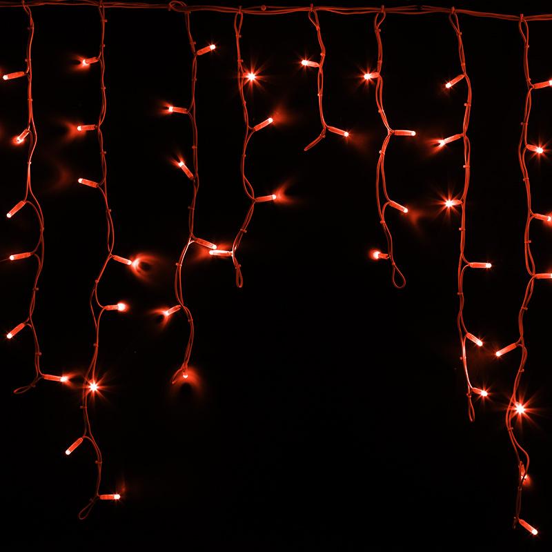 """Гирлянда Айсикл (бахрома) светодиодный, 5,6 х 0,9 м, белый провод """"КАУЧУК"""", 230 В, диоды красные, 240 LED NEON-NIGHT"""