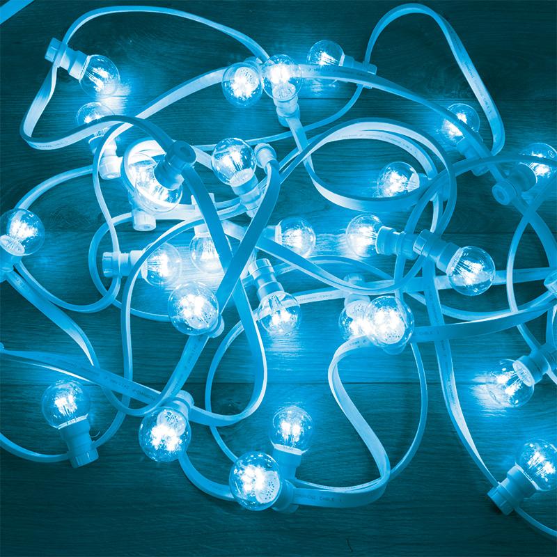 Гирлянда LED Galaxy Bulb String 10м, белый КАУЧУК, 30 ламп*6 LED СИНИЕ, влагостойкая IP65