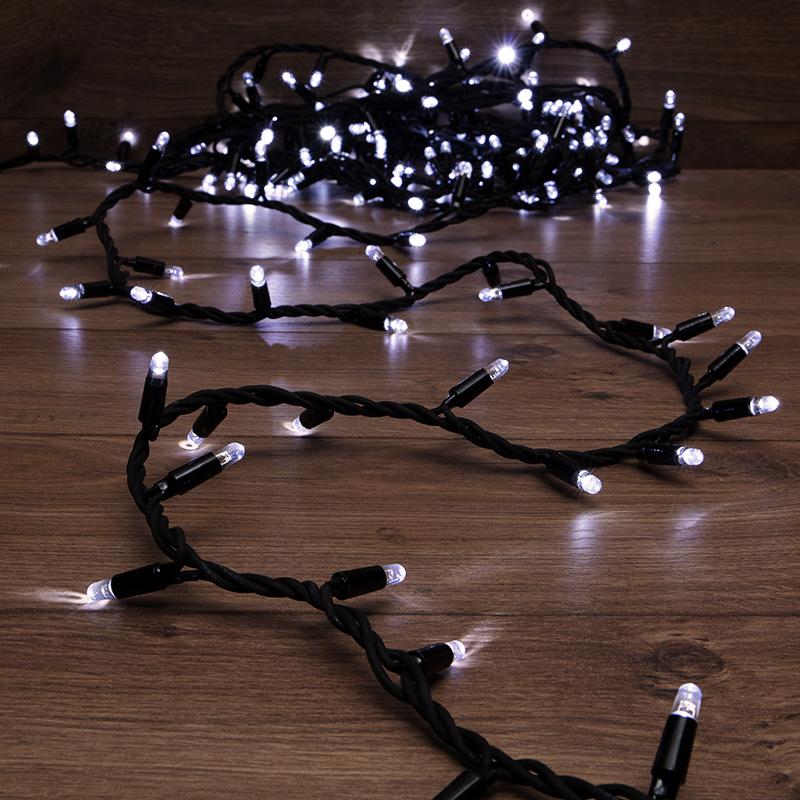 Гирлянда модульная «Дюраплей LED» 10 м, 200 LED, черный каучук, цвет свечения белый NEON-NIGHT