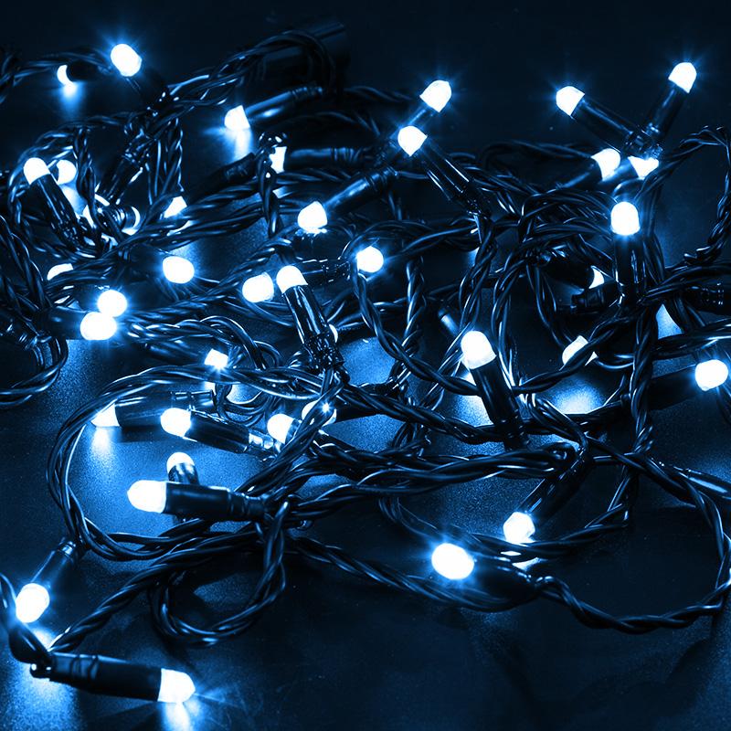 Гирлянда Нить 10м, постоянное свечение, черный ПВХ, 24В, цвет: Синий
