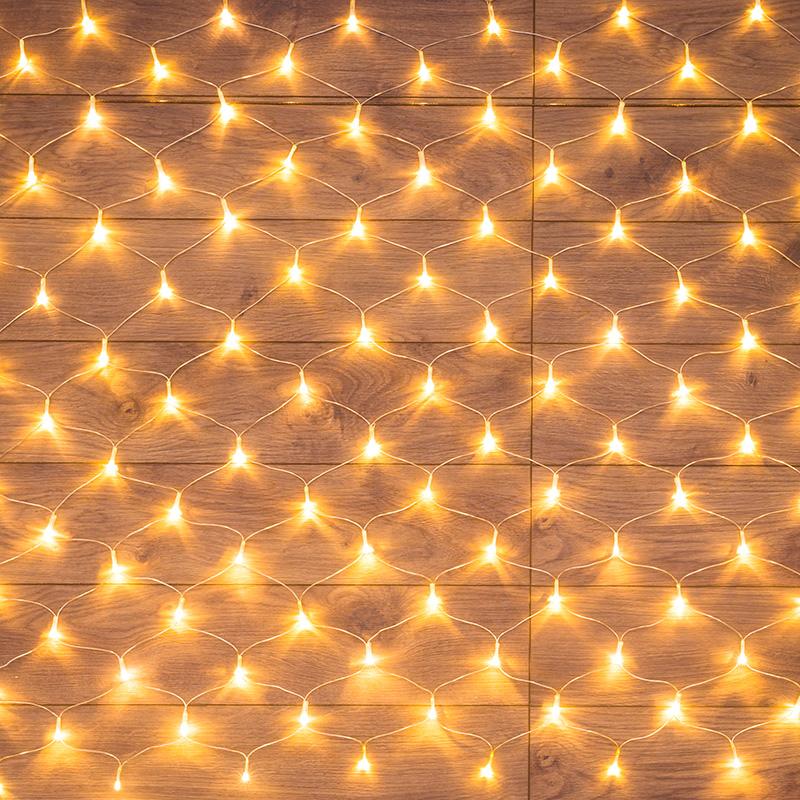 "Гирлянда ""Сеть"" 1,5х1,5м, прозрачный ПВХ, 150 LED ТЕПЛЫЙ БЕЛЫЙ"