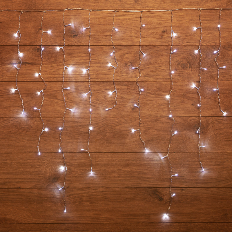 "Гирлянда светодиодная ""Бахрома"" 3*0,8 м 200 LED БЕЛЫЕ, прозрачный ПВХ"
