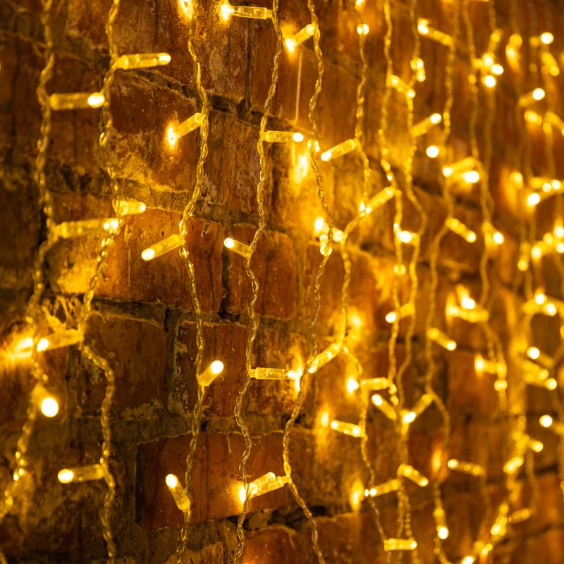 Гирлянда светодиодная «Дождь» 2x0,8 м, эффект мерцания, прозрачный провод, 230 В, диоды теплый белый, 160 LED