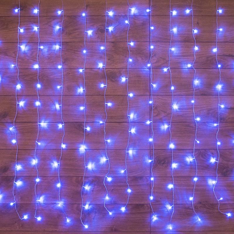 """Гирлянда """"Светодиодный Дождь""""  1,5х1м, свечение с динамикой, прозрачный провод, 230 В, диоды СИНИЕ"""