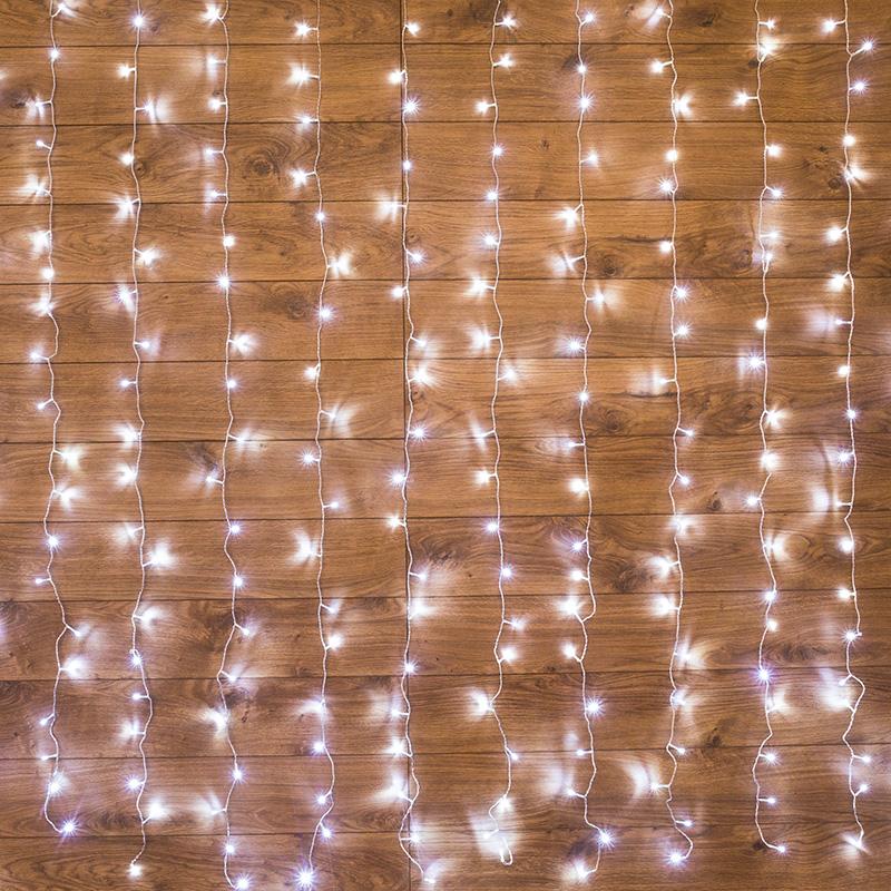 """Гирлянда """"Светодиодный Дождь""""  2,5x2м, свечение с динамикой, прозрачный провод, 230 В, диоды БЕЛЫЕ"""
