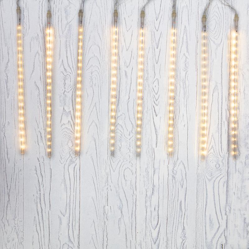 """Гирлянда """"Тающие сосульки"""" светодиодная, 8 шт х 50 см, шаг 50 см, 230 В, Теплые Белые светодиоды"""