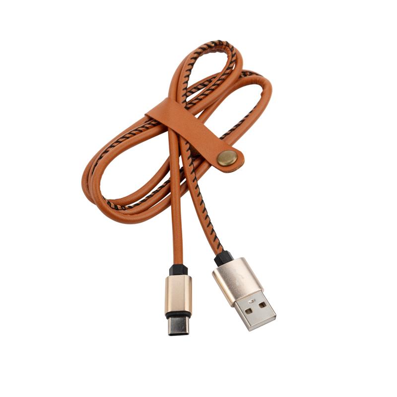 Кабель REXANT USB-Type-C 2 A, 1 м, коричневая кожаная оплетка