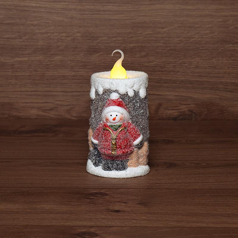 Керамическая фигурка «Свечка со снеговиком» 10.5х9х17.6 см