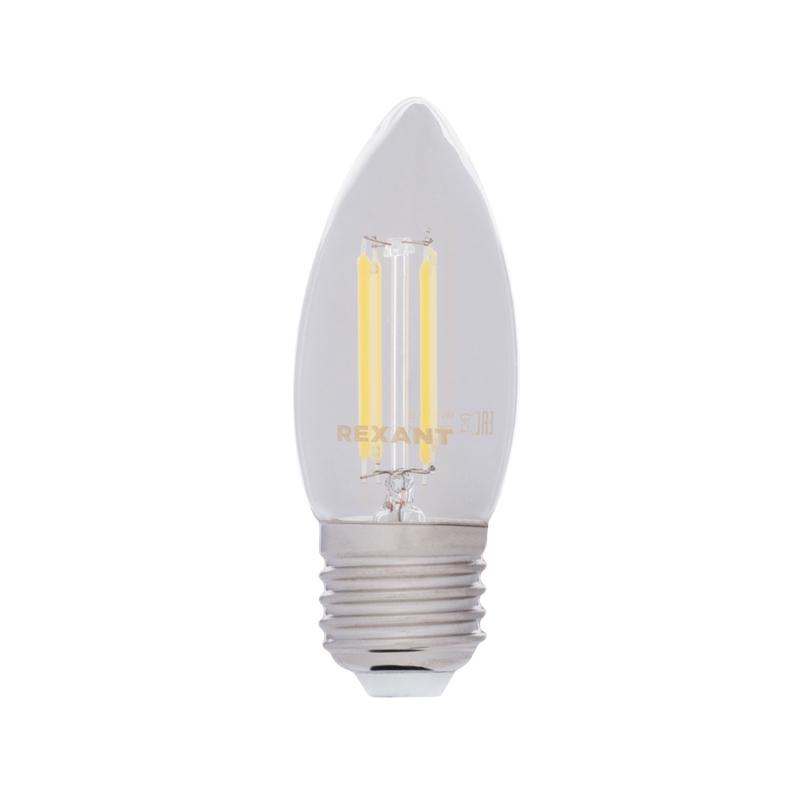 Лампа филаментная REXANT Свеча CN35 7.5 Вт 600 Лм 2700K E27 прозрачная колба