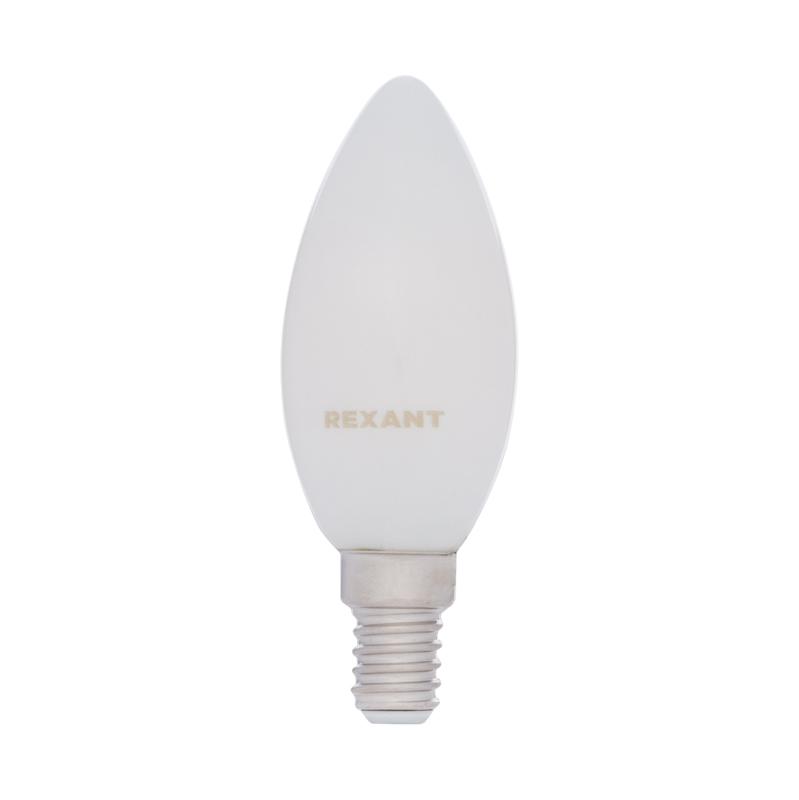 Лампа филаментная REXANT Свеча CN35 9.5 Вт 915 Лм 4000K E14 матовая колба