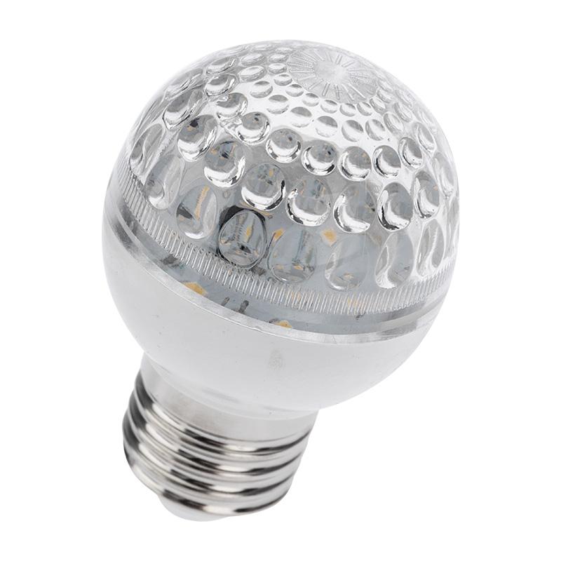 Лампа шар e27 10 LED  Ø50мм теплая белая 24В (постоянное напряжение)