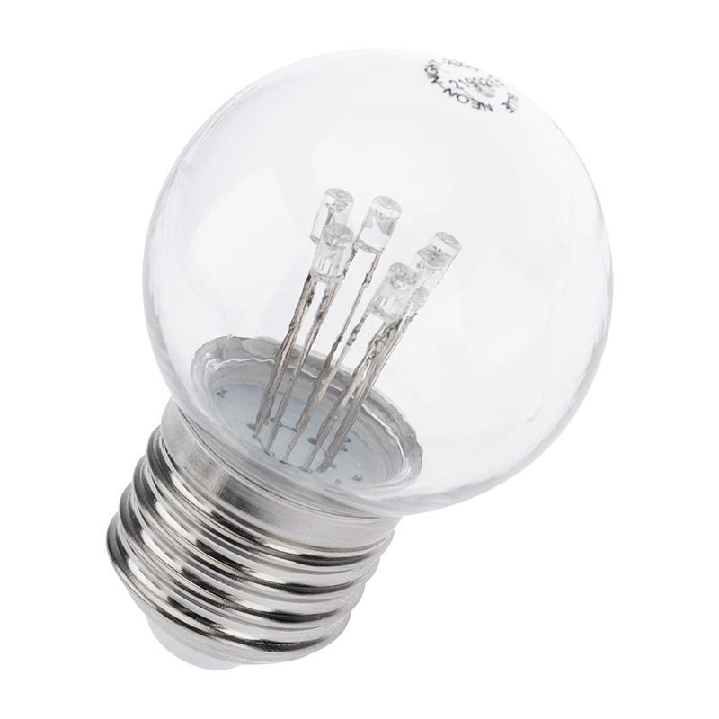 Лампа шар e27 6 LED  Ø45мм - белая, прозрачная колба, эффект лампы накаливания