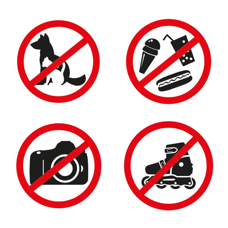 Наклейки запрещающие знаки «Набор наклеек 4 шт. мини- d 9 см» 200х200 мм REXANT