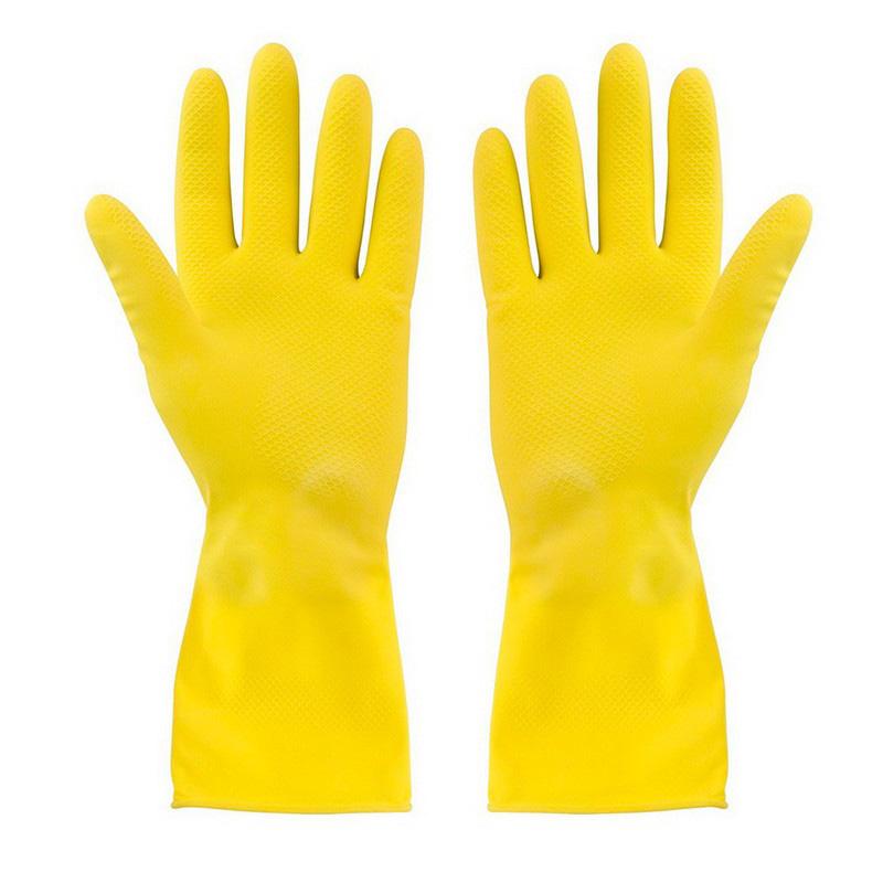 Перчатки латексные хозяйственные универсальные М (желтые)