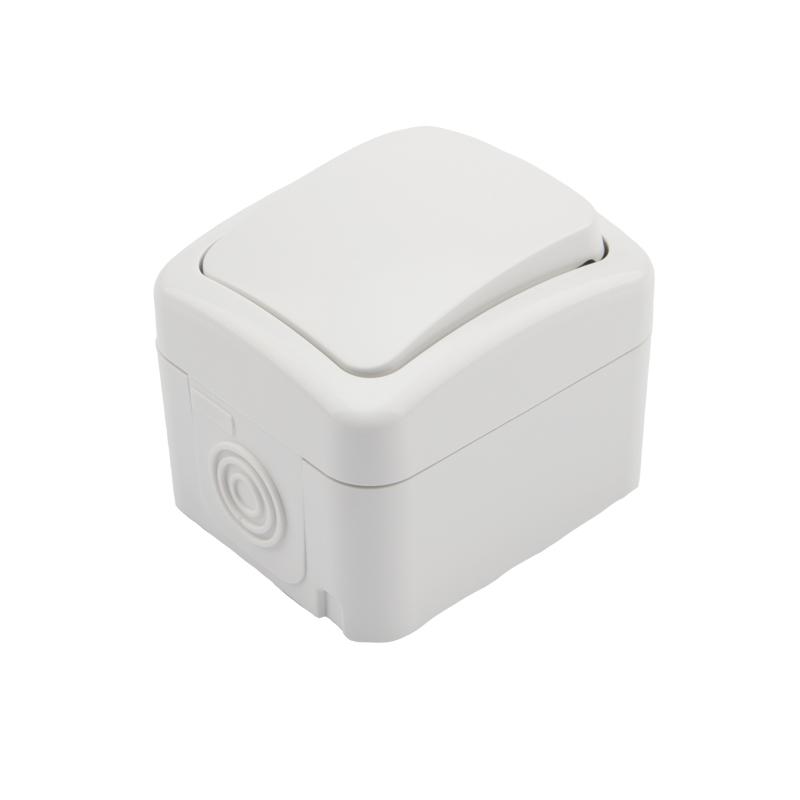 Переключатель проходной KRANZ Mini OG открытой установки, IP54 белый