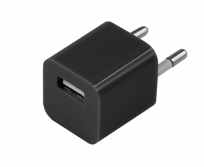 Сетевое зарядное устройство «Квадрат» USB (СЗУ) (1000 mA) черное