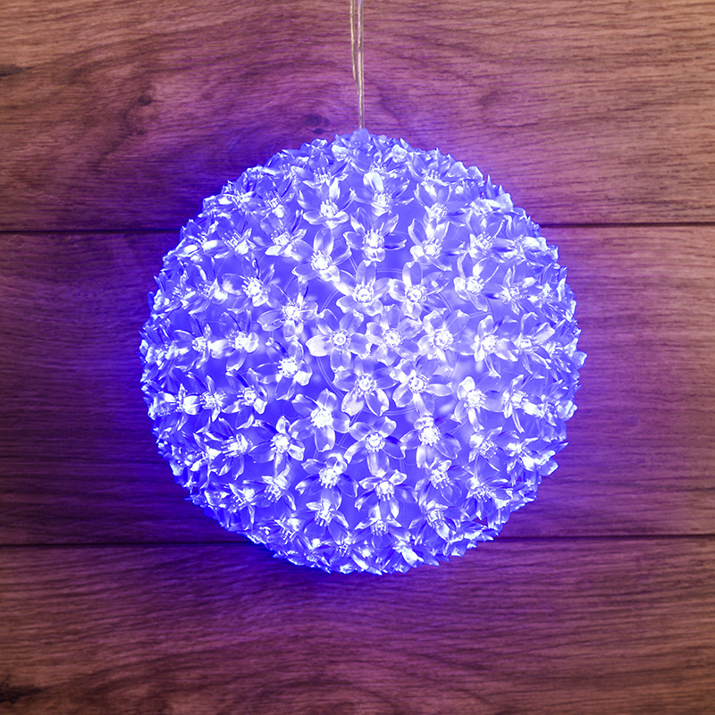 Шар светодиодный 230V, диаметр 20 см, 200 светодиодов, цвет синий
