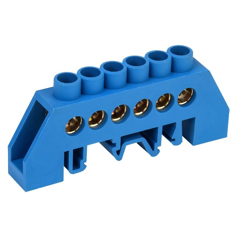 Шина «N» нулевая в комбинированном синем изоляторе на DIN-рейку 8x12 мм 6 групп REXANT