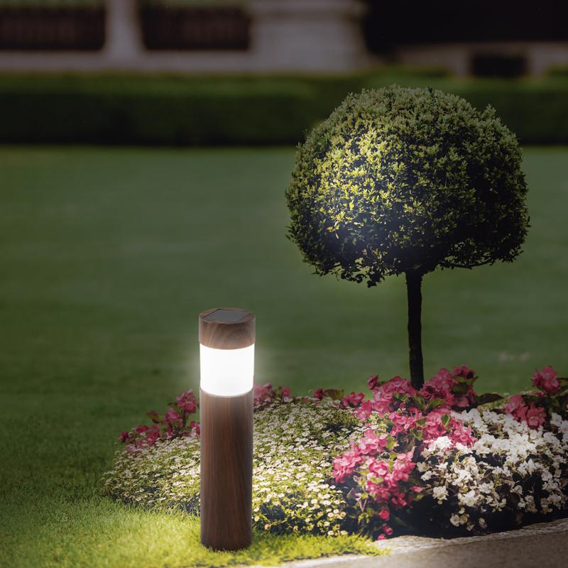 Светильник садовый LAMPER Кантри LED с текстурой дуба, с солнечной панелью и аккумулятором