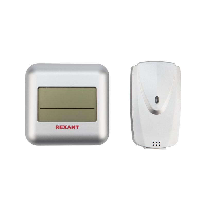Термометр электронный REXANT S3341BF с часами и беспроводным выносным датчиком