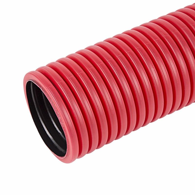 Труба гофрированная двухстенная ПНД с зондом, красная, Ø50 мм, бухта 100 м/уп., в комплекте муфта и 2 кольца