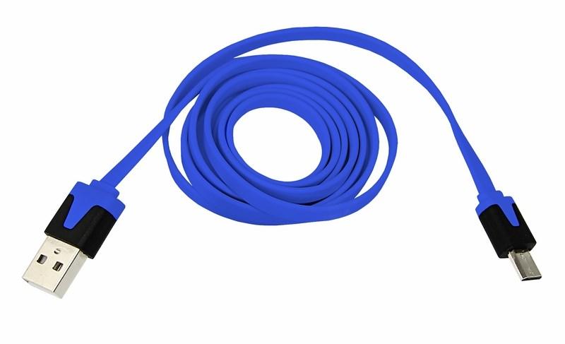 USB кабель универсальный microUSB шнур плоский 1 м синий