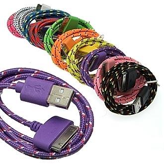 USB to iPhone4 Round braid 1m