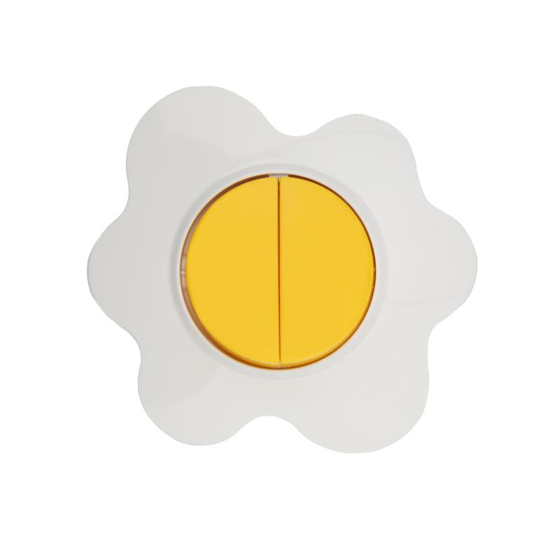 Выключатель двухклавишный KRANZ HAPPY Яичница скрытой установки, желтый/белый