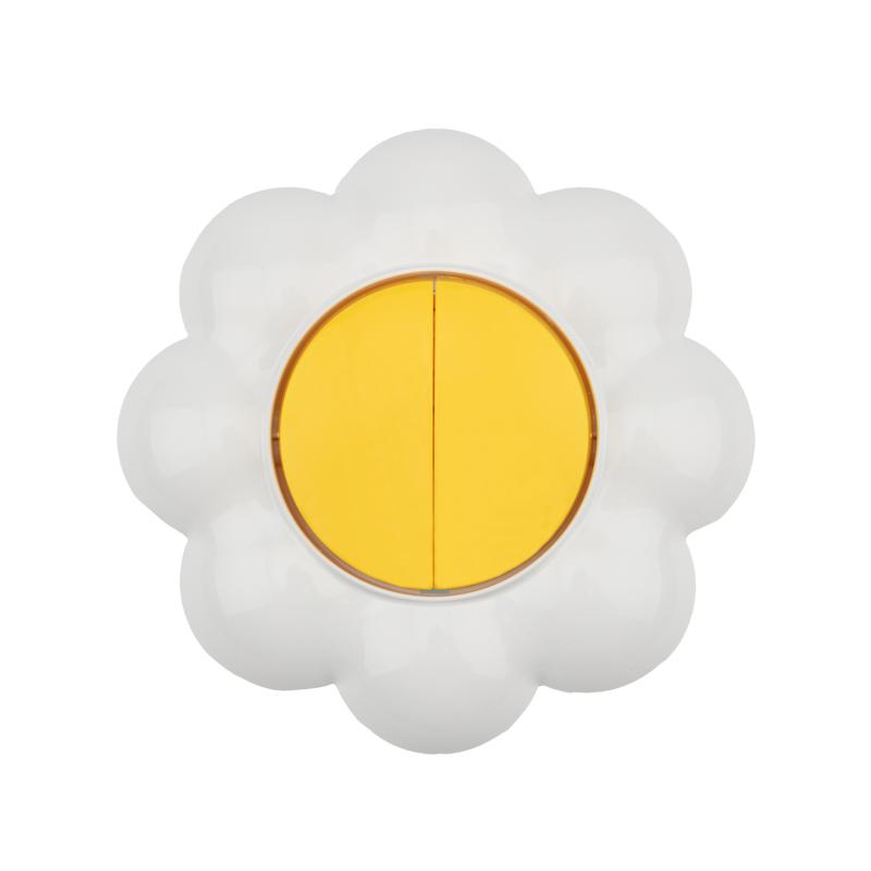 Выключатель двухклавишный KRANZ HAPPY Ромашка скрытой установки, желтый/белый