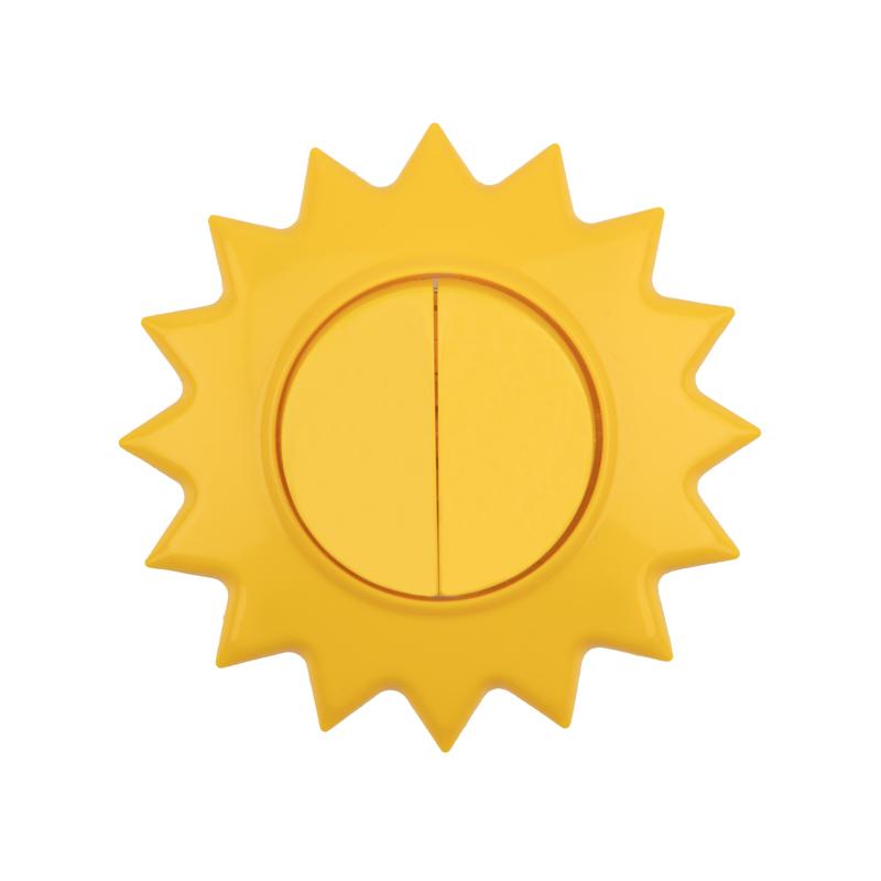 Выключатель двухклавишный KRANZ HAPPY Солнце скрытой установки, желтый