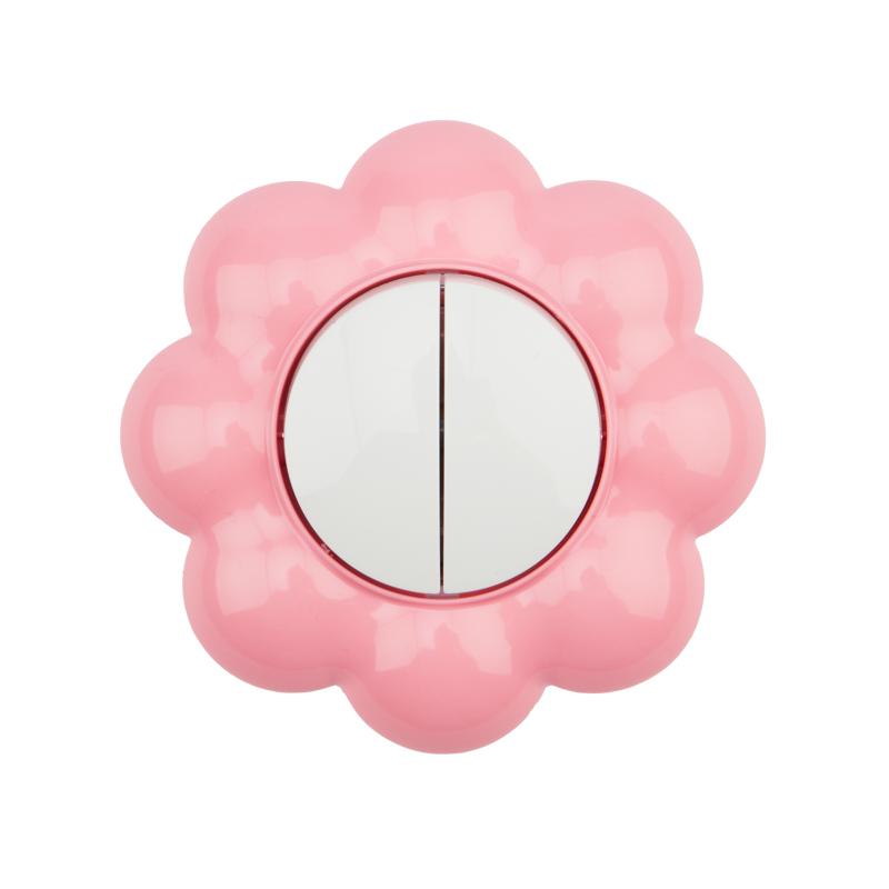 Выключатель двухклавишный KRANZ HAPPY Цветок скрытой установки, белый/розовый
