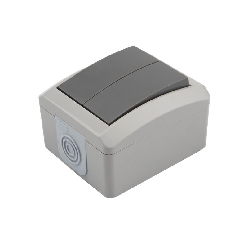 Выключатель двухклавишный KRANZ INDUSTRIAL открытой установки, IP54 серый