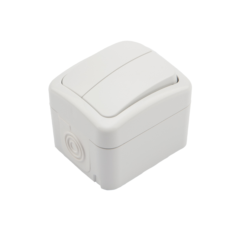 Выключатель двухклавишный KRANZ Mini OG открытой установки, IP54 белый