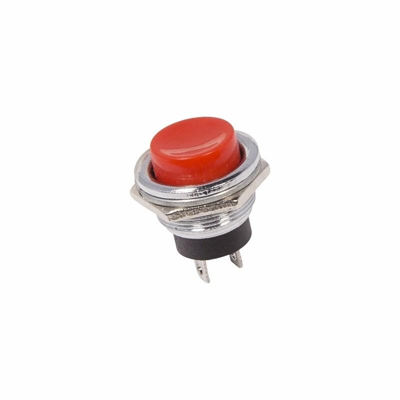 Выключатель-кнопка  металл 250V 2А (2с) (ON)-OFF  Ø16.2  красная  REXANT