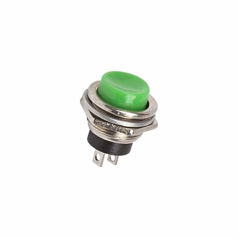 Выключатель-кнопка  металл 250V 2А (2с) (ON)-OFF  Ø16.2  зеленая  REXANT
