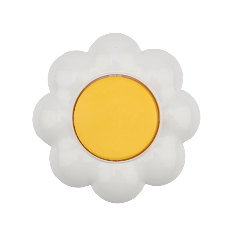 Выключатель одноклавишный KRANZ HAPPY Ромашка скрытой установки, желтый/белый