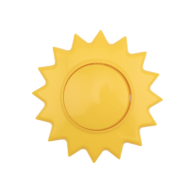 Выключатель одноклавишный KRANZ HAPPY Солнце скрытой установки, желтый