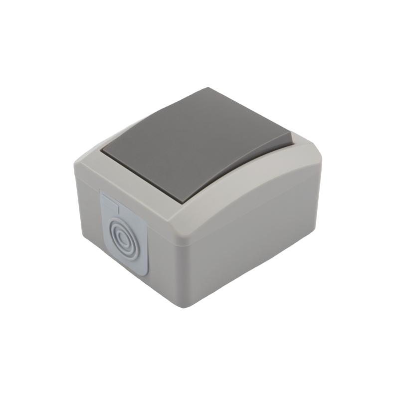 Выключатель одноклавишный KRANZ INDUSTRIAL открытой установки, IP54 серый