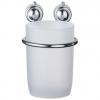 Стакан для зубных щеток настенный металлический хромированный+пластик РЫЖИЙ КОТ В0921