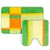 Набор ковриков 2шт для ванной и туалета, акрил, 50x80см + 50x50см, Геометрия зеленый 462-561