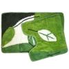 Набор ковриков 2шт для ванной и туалета, акрил, 50x80см + 50x50см, Листья, зеленый, VETTA 462-214