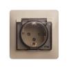 Розетка 1-м скрытая проводка/СП Glossa с защ. крышкой защ. шторки с заземл. IP44 беж. SchE GSL000248
