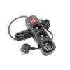 Удлинитель LUX У3-ЕВК-03 черный (3х3 м, ПВС 3х0.75, с/з, выключатель)